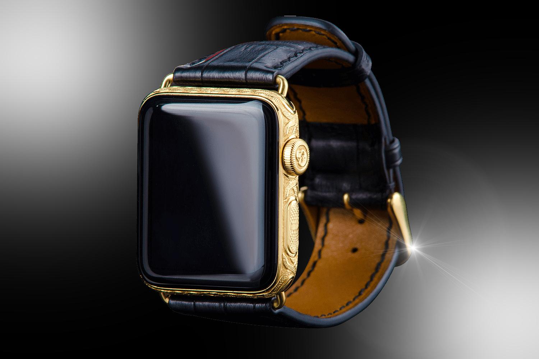 stuart hughes 24ct gold black diamond apple watch series 4 edition