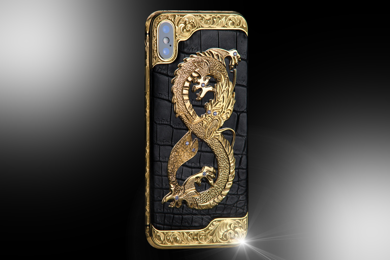 24ct Gold iPhone XS Dragon Stone Classic Edition - Stuart Hughes